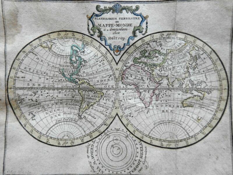 Double Hemispheres World Map 1780 Holtrop miniature map scarce charming