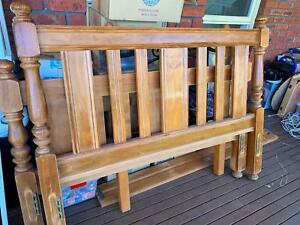 Queen timber bed with bed head and foot and timber slats