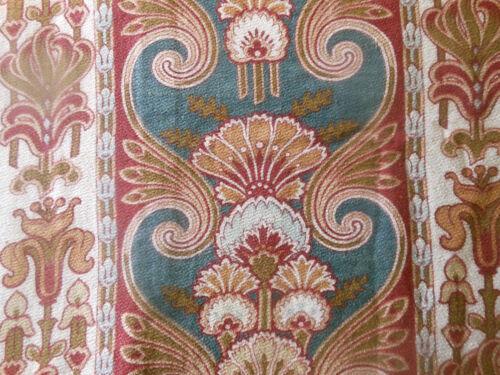 Antique French Art Nouveau Artichoke Cotton Fabric ~ Blue Gray Burgundy Olive #1