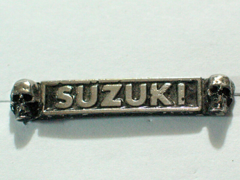Vintage Suzuki Skull Name Motorcycle Pin