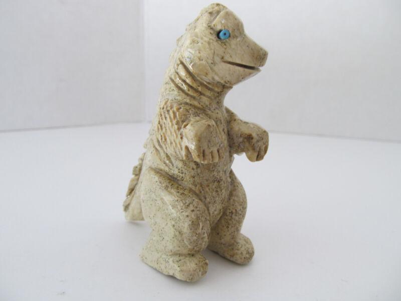 Vintage Signed Real Stone Carved Stone Dinosaur Fetish Figurine Turquoise Eyes