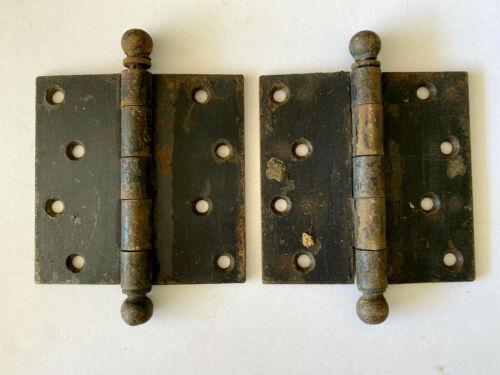 Two Antique Cast Iron Ball Tip Door Hinges