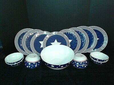 PATRIOTIC Stars and Stripes 17 pc Dinnerware 4th of July Picnic Party Melamine ? - Patriotic Dinnerware