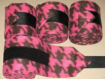 NEW set of 4 pink/black houndstooth horse polo wraps (horse/pony leg wraps)