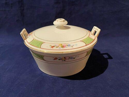 Vintage 3 Piece Nippon Porcelain Hand Painted Powder Vanity Jar