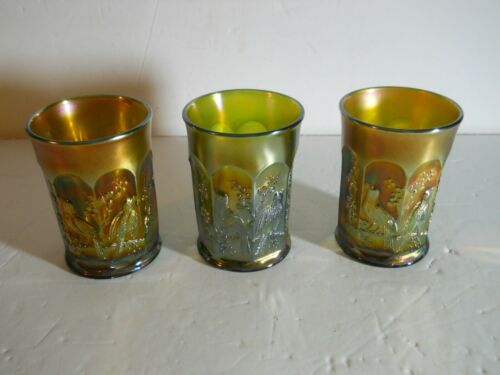 "Northwood ""Singing Birds"" 3 in 1 lot Green Carnival Glasses Tumblers"
