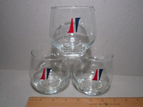 National Airlines Vintage LOGO cocktail juice OTR glasses 3 red blue first class