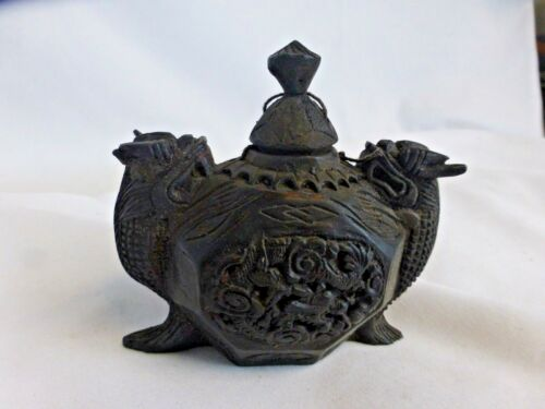 Antique / vintage intricate unusual carved wood box, Malayisia ? ca. 1960s