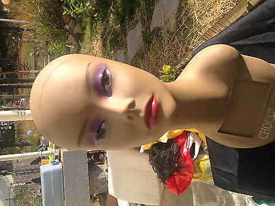 Chocolate Hair Ladies Wig Stand Bust Model Facial Makeup Artist Necklace Stand