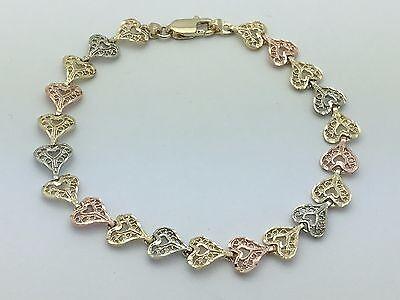 """14k Tri-Color Gold Solid Filigree Heart Bracelet 7.25"""" 7.5mm 6.4g"""