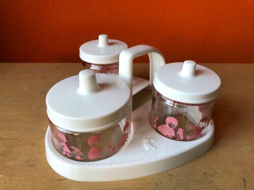Vintage Baby Gift Nursery Glass Storage Jar Changing station portable girl pink