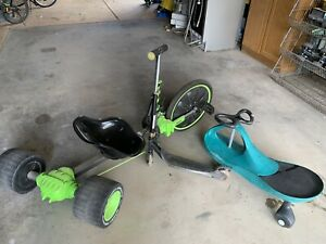 Kids toys Green trike, scooter and skate cart kids fun bundle