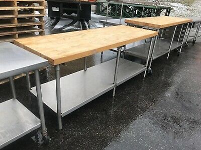 Butcher Block Top Bakery Work Table Restaurant Equipment.