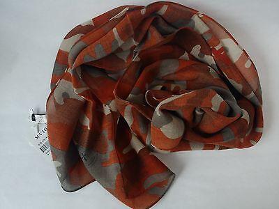 [Korea] MVIO Red Brown with Camouflage Patterns Print Long 100% Wool Scarf Shawl