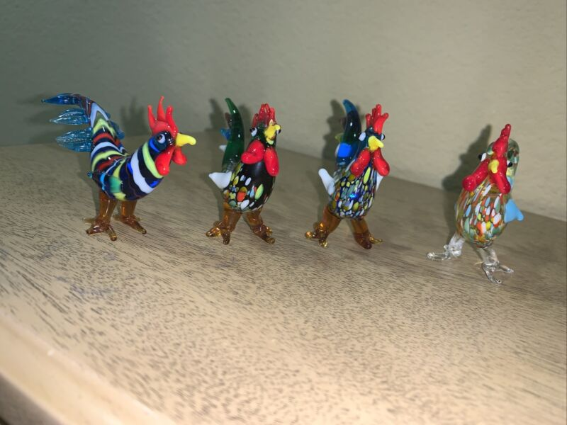 Four Made In Italy Multi Colored  Freeform Roosters Figurines; Beautiful details