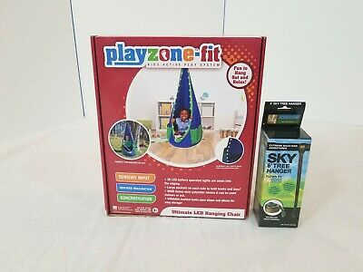 Playzone Fit Ultimate Hanging Sky Chair With Led Lights w/ New 6' Tree Hanger