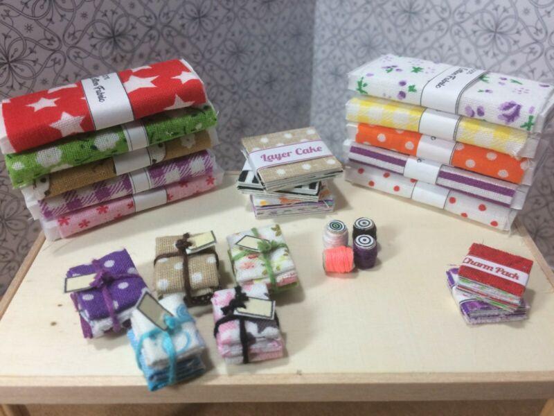 Dollhouse Miniature 1:12 sewing/ fabric lot