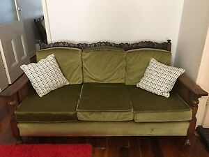 Solid jarrah sofa and matching armchairs Lewisham Marrickville Area Preview