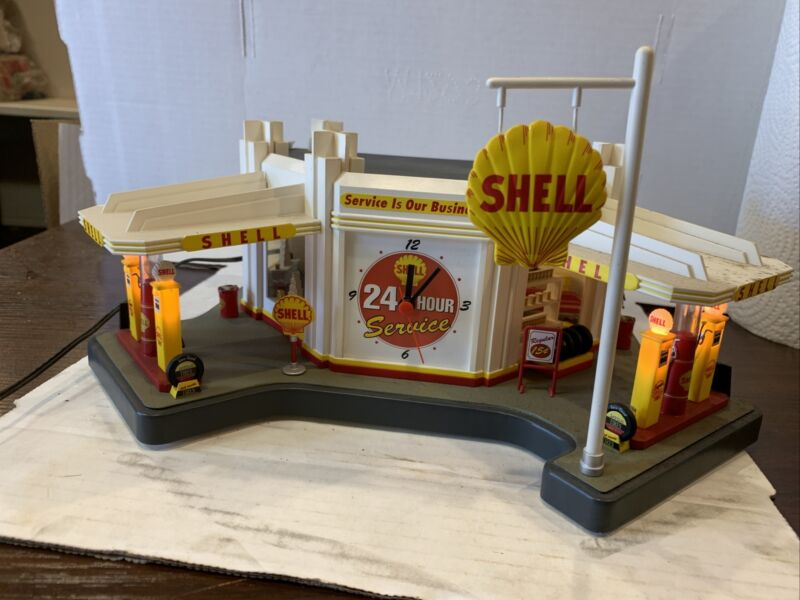 DANBURY MINT VINTAGE SHELL GAS  SERVICE STATION CLOCK DIORAMA DISPLAY all workin