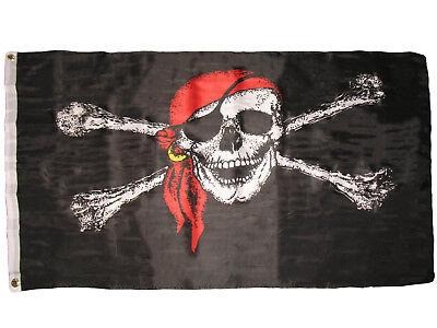 3x5 Jolly Roger Pirate Bandana Red Hat Skull Crossbones Flag 3'x5' House Banner