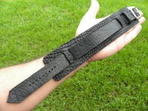 Large black Bison leather  cuff men bracelet wristband for 9 inch wrist XL XXL