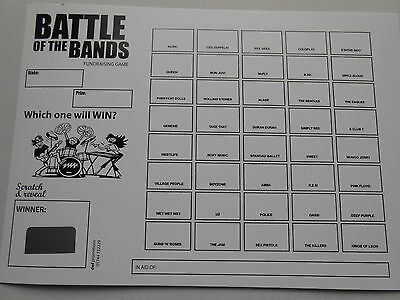 SCRATCH CARDS BATTLE OF THE BANDS THEMED (B&W) - X 5  =40 SPACES - RAISE £200