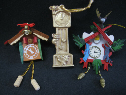 Lot of 3 Vtg Clock Ornaments Cuckoo & Grandfather Made in Germany?