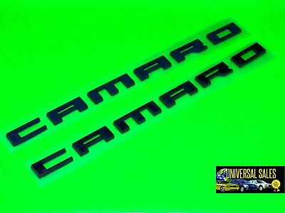 PAIR BLACK CAMARO CHEVROLET GM EMBLEM BADGE NAMEPLATE 2010 - 2015 NEW # 22752666