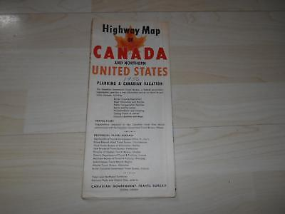 Old Vtg 1956 HIGHWAY MAP of CANADA Northern US Folding Street Road Advertising
