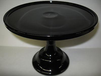Black amethyst Glass cake serving stand / plate platter pedestal purple art tray