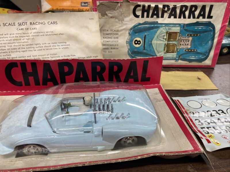 Marx 1/24 Scale Light Blue Ferrari Chaparral Slot Car In Box