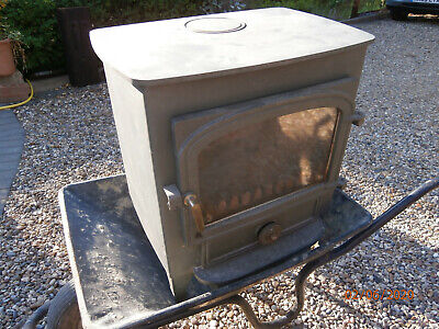 Wood burning stove (fire), Olive green colour. Includes rear flue box. V.Heavy!