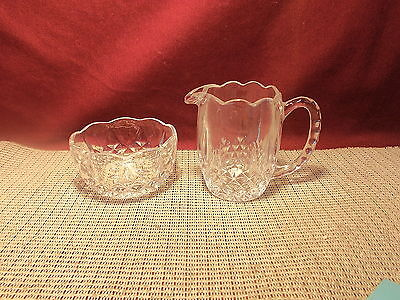 Action Industries Crystal Blarney Pattern Open Sugar And Creamer Set