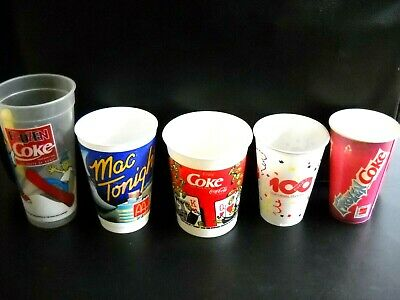 **FIVE ASSORTED SIZES COCA COLA PLASTIC DRINK CUPS, ALL IN GOOD CONDITION**
