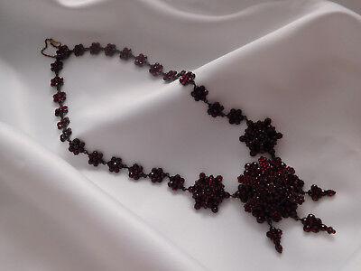 Prächtiges Granat Collier, Kette, Böhmen um 1880,Tombak,bohemian garnet necklace
