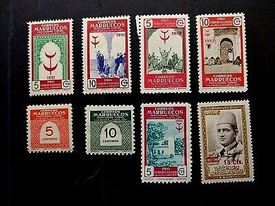 🟩 SPANISH MOROCCO - 1950s COLLECTION OF 9 MINT STAMPS - EACH NUMBERED