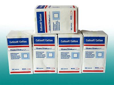 CUTISOFT Cotton Kompressen 7,5 x 7,5cm 5 x 100 Stück Mull Verband Spar unsteril