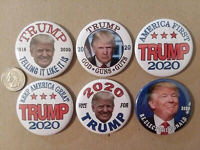 "6 -2 1/4"" Donald Trump 2020 re-election badge button pin Campaign Political"