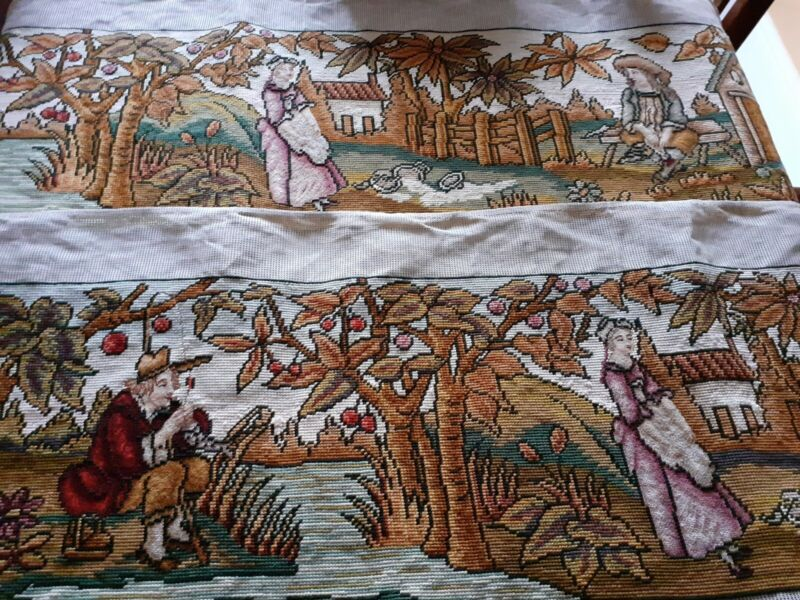 """Two V long pieces hand worked tapestry panels gros & petit point each 59"""" long"""