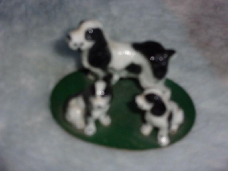 vintage springer spaniel mother & 2 pups porcelain ceramic