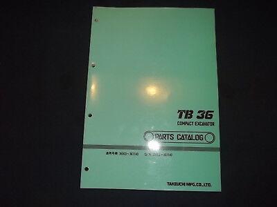 Takeuchi Tb36 Compact Excavator Parts Catalog Book Manual Oem