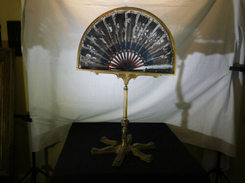 Art Deco Chinoiserie Brass w/Antique Feather Hand Fan-Display Case/Adj. Stand