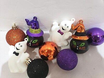 Halloween Black Cat Ghost Ball Tree Ornaments Decorations Set of 9