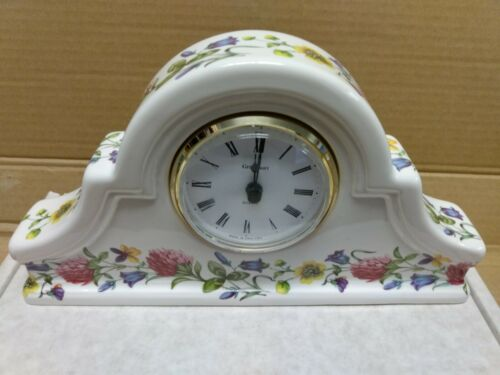NOS GRAYSHOTT POTTERY PORCELAIN MANTEL DESK SHELF TABLE CLOCK WHITE CLOVER