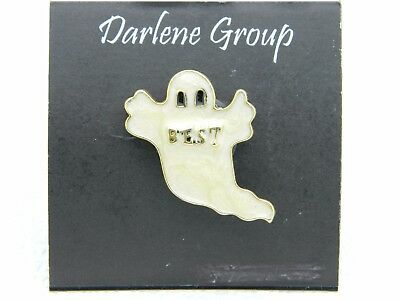 Best Group Costumes (Vintage NOS Halloween White Enamel BEST Ghost Gold Tone Darlene Group Pin)