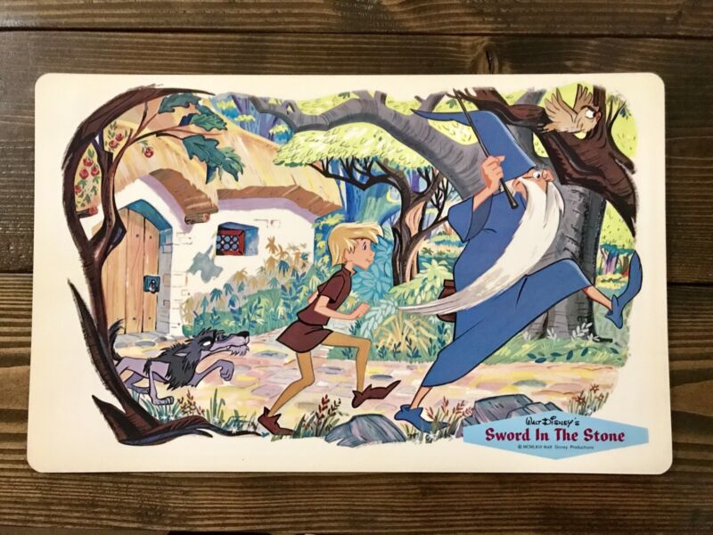 Walt Disney Placemat 1960's Vintage Sword In The Stone