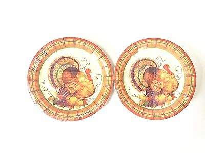 Thanksgiving Plaid Turkey Plates- Dessert Plates Paper Disposable, 24 Count - Plaid Paper Plates