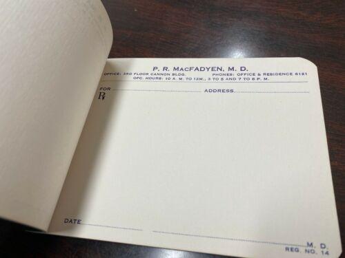 Vintage Prescription Pad – Collector's Item – P.R. MacFayden MD – Cannon Bldg