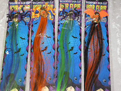 Halloween Hair Clip Spider Bat Colorful Strands Costume Green Orange NEW!