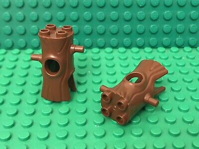 Lego X2 Reddish Brown Mini figures Headgear,Head Cover, Costume Tree Trunk Parts
